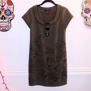 Olive Green Dress with Black Rose Embroidery